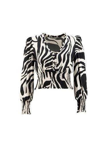 Setre Siyah-Beyaz V Yaka Zebra Bluz Siyah